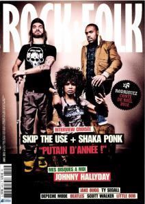 Une de Rock&Folk de décembre 2012, avec Skip The Use (de g. à dr. Frah, Samaha, chanteur des Skip)